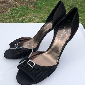 🆕 Delman Black Sateen Crystal Buckle D'Orse Heels